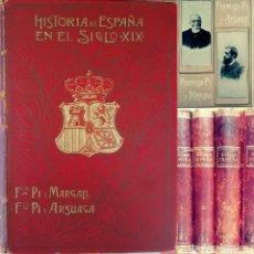 Militaria: ESPECTACULAR LOTE DE 4 TOMOS HISTORIA DE ESPAÑA EN EL SIGLO XIX - 3.400 PAGINAS EDICIÓN 1902..!!. Lote 135232402