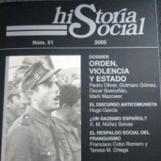Militaria: REVISTA HISTORIA SOCIAL 51 DIVISIÓN AZUL NAZISMO ESPAÑOL . Lote 135567222