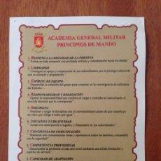 Militaria: ACADEMIA GENERAL MILITAR PRINCIPIOS DE MANDO. Lote 137455281