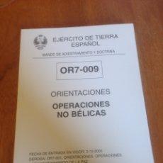 Militaria: ORIENTACIONES - OPERACIONES NO BÉLICAS. Lote 137543837