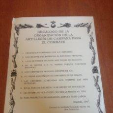 Militaria: DECÁLOGO DE LA ORGANIZACIÓN DE LA ARTILLERÍA DE CAMPAÑA PARA EL COMBATE. Lote 137564640