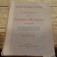 Militaria: RESUMEN DE LA GUERRA MUNDIAL. (1914 - 1918). ESTUDIO ABREVIADO, COMPLETO E IMPARCIAL DE SUS CAUSAS,. Lote 138211846