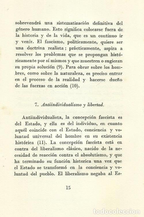 Militaria: B1199 - BENITO MUSSOLINI. LA DOCTRINA DEL FASCISMO. VALLECCHI EDITORE. 1935 - Foto 3 - 147769609