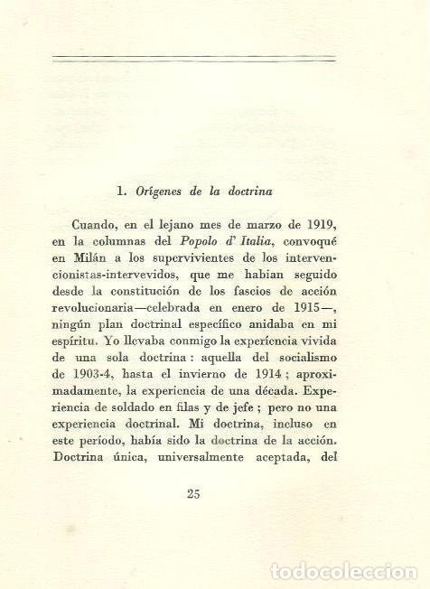 Militaria: B1199 - BENITO MUSSOLINI. LA DOCTRINA DEL FASCISMO. VALLECCHI EDITORE. 1935 - Foto 4 - 147769609