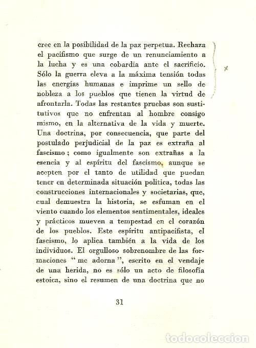Militaria: B1199 - BENITO MUSSOLINI. LA DOCTRINA DEL FASCISMO. VALLECCHI EDITORE. 1935 - Foto 5 - 147769609