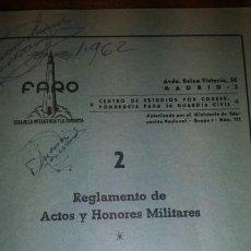 Militaria: REGLAMENTO DE ACTOS Y HONORES MILITARES. Lote 142965224