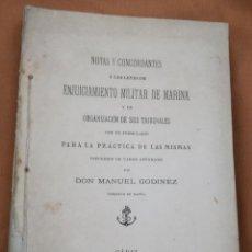 Militaria: NOTAS CONCORDANTES A LAS LEYES DE ENJUICIAMIENTO MILITAR DE MARINA.....CADIZ 1895. Lote 147004974