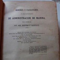 Militaria: ADMINISTRACIÓN DE MARINA, PARA PROFESORADO DE LA ESCUELA NAVAL MILITAR. MADRID 1865. Lote 147530590