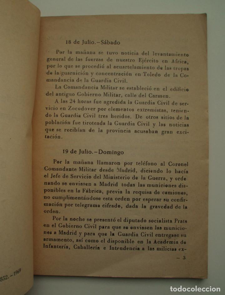 Militaria: DIARIO DE OPERACIONES DEL ASEDIO AL ALCAZAR. EDITORIAL CATÓLICA TOLEDANA, S.A. 1969. - Foto 3 - 150724818