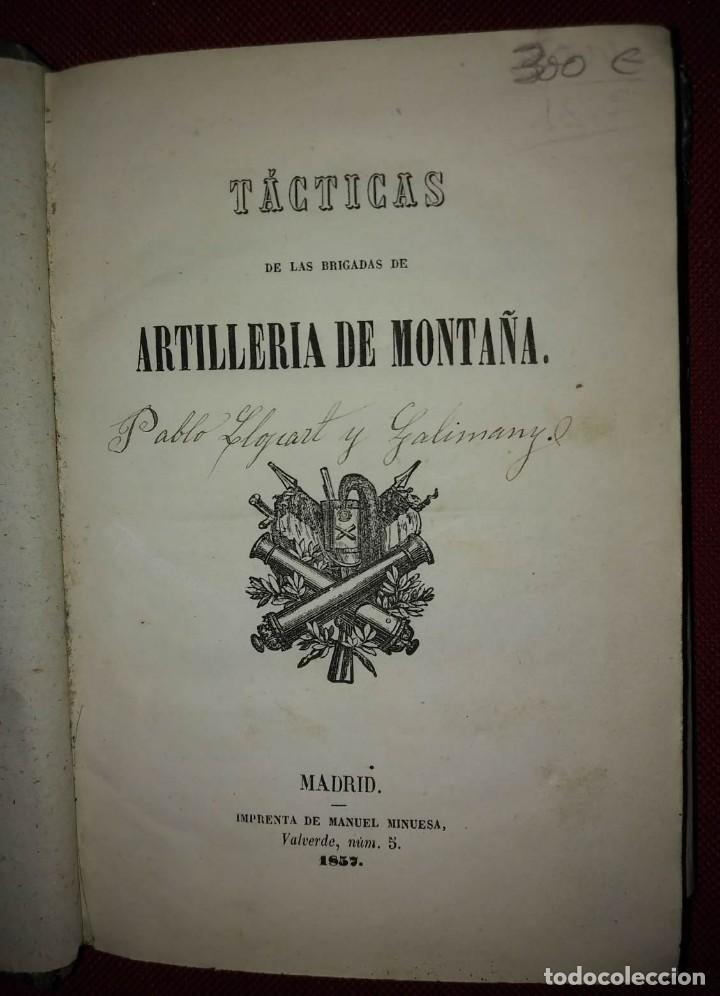 Militaria: 1837 Tácticas de las brigadas de artillería de montaña. Libros militares - Foto 2 - 114406275