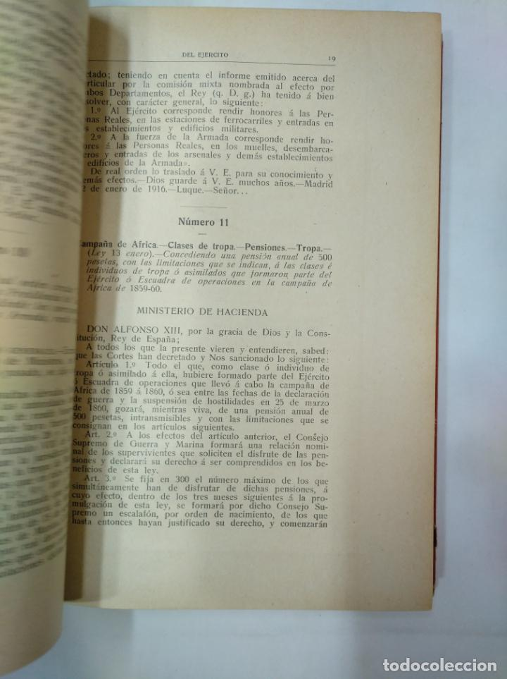 Militaria: COLECCION LEGISLATIVA DEL EJERCITO. AÑO 1916. MINISTERIO DE LA GUERRA. MADRID. TDK366 - Foto 2 - 151389866