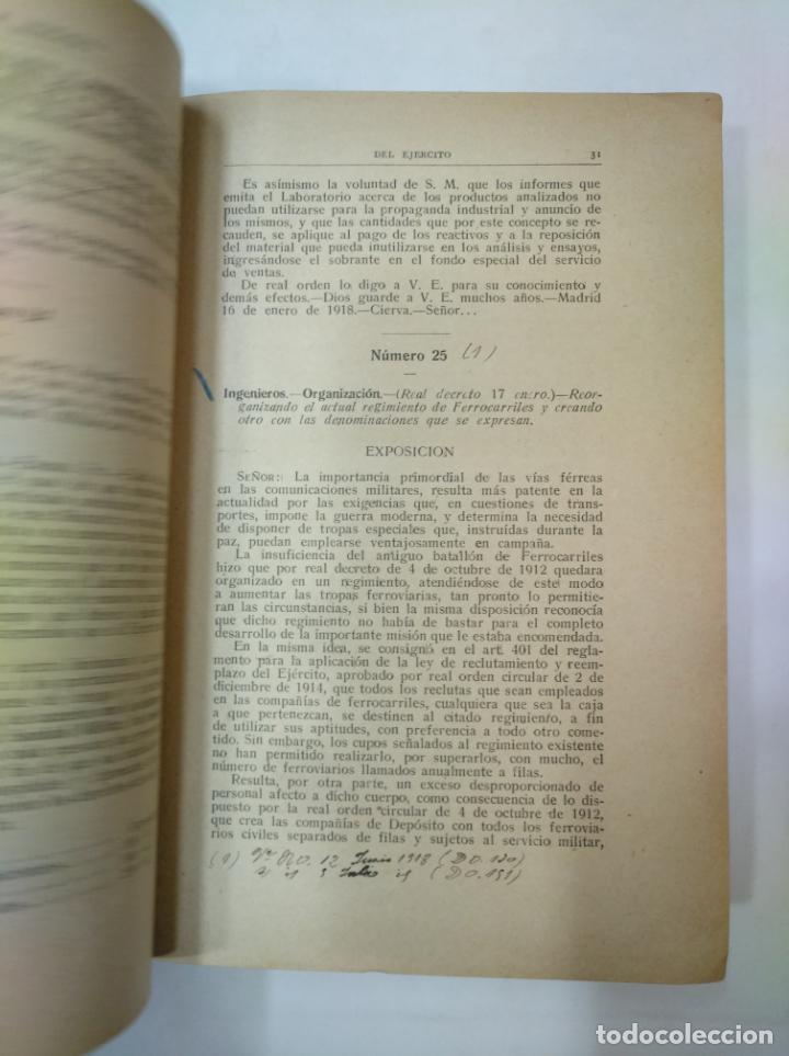 Militaria: COLECCION LEGISLATIVA DEL EJERCITO. AÑO 1918. MINISTERIO DE LA GUERRA. MADRID. TDK366 - Foto 4 - 151390246