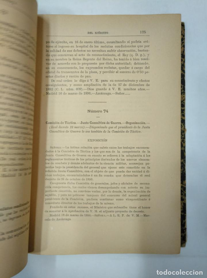 Militaria: COLECCION LEGISLATIVA DEL EJERCITO. AÑO 1896. MINISTERIO DE LA GUERRA. MADRID. TDK366 - Foto 5 - 151390398
