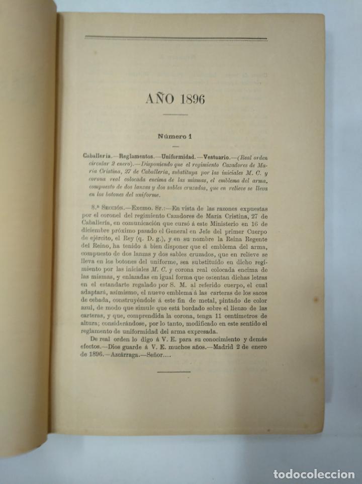 Militaria: COLECCION LEGISLATIVA DEL EJERCITO. AÑO 1896. MINISTERIO DE LA GUERRA. MADRID. TDK366 - Foto 6 - 151390398