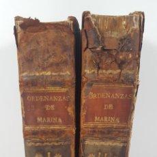 Militaria: ORDENANZAS DE MARINA. 2 TOMOS. IMPRENTA DE JUAN DE ZUÑIGA. MADRID. 1748.. Lote 153088230