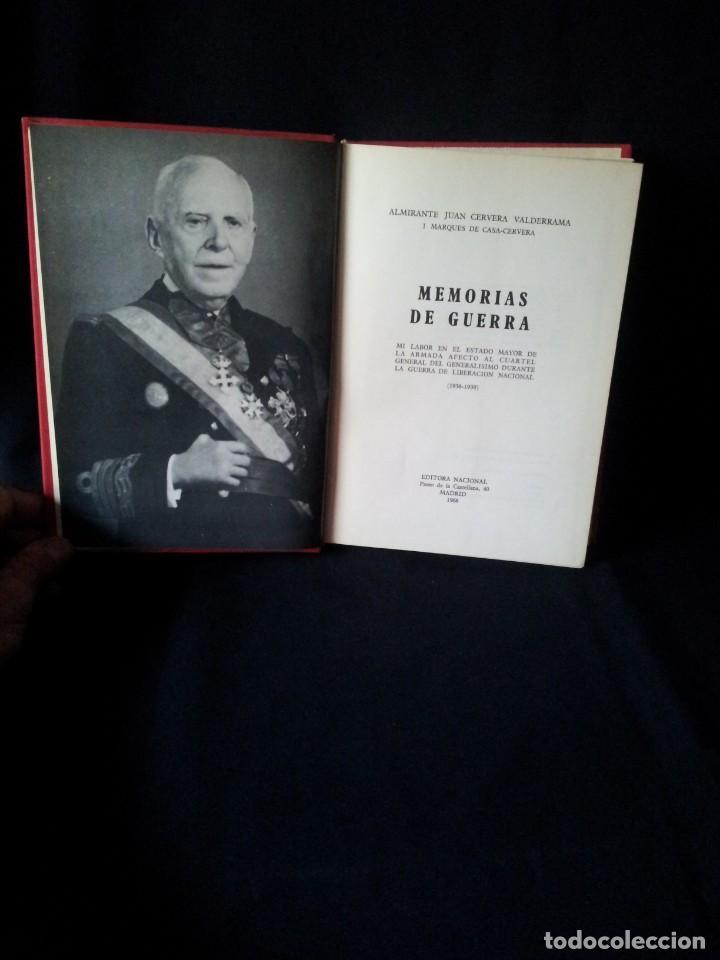 ALMIRANTE JUAN CERVERA VALDERRAMA - MEMORIAS DE GUERRA - EDITORIAL NACIONAL 1968 (Militar - Libros y Literatura Militar)