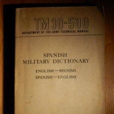 Militaria: DICCIONARIO MILITAR - INGLÉS-ESPAÑOL, ESPAÑOL-INGLES TM30-500 - DEPARTAMENT OF THE ARMY - JULY 1950. Lote 156683346