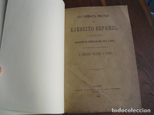 Militaria: 1886 LA FARMACIA MILITAR DEL EJERCITO ESPAÑOL J PELEGRÍ - Foto 2 - 156893958