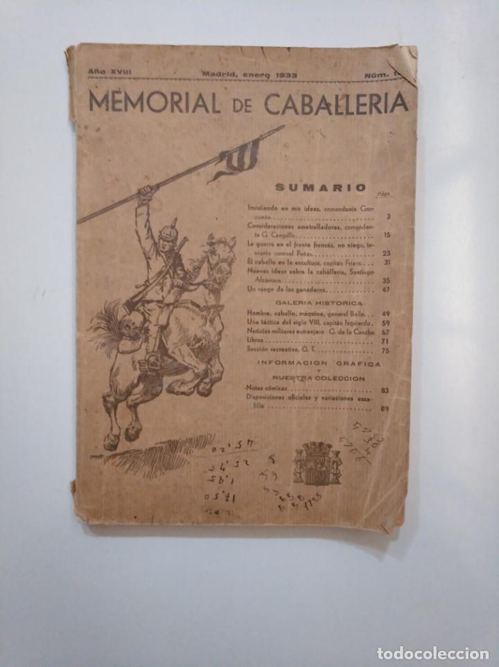 MEMORIAL DE CABALLERIA. AÑO XVIII. MADRID ENERO 1933. TDK378 (Militar - Libros y Literatura Militar)