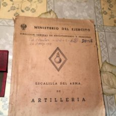 Militaria: ANTIGUO LIBRO MILITAR MINISTERIO DEL EJERCITO ESCALILLA DEL ARMA DE ARTILLERIA AÑO 1961 . Lote 159448870
