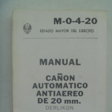 Militaria: ESTADO MAYOR DEL EJERCITO : MANUAL CAÑON AUTOMATICO ANTIAEREO DE 20 MM. OERLIKON. 1981. Lote 160258306