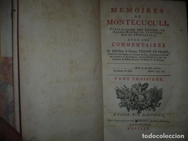 Militaria: MEMOIRES DE MONTECUCULI COMTE TURPIN DE CRISSE 1770 PARIS TOME 3º - Foto 3 - 160543382