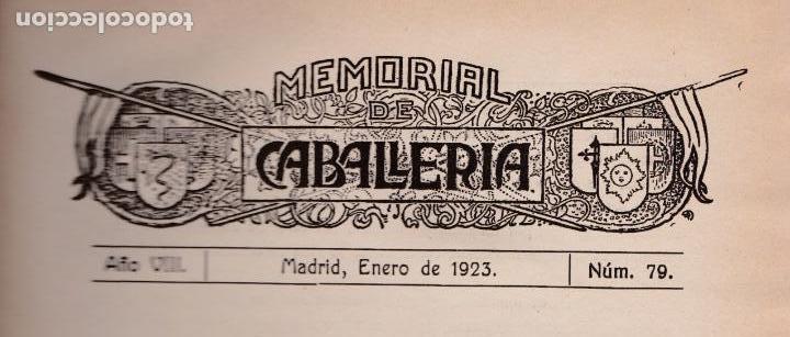 REVISTA MEMORIAL DE CABALLERÍA- 1923 * CABALLOS * (Militar - Libros y Literatura Militar)