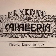 Militaria: REVISTA MEMORIAL DE CABALLERÍA- 1923 * CABALLOS *. Lote 160654410