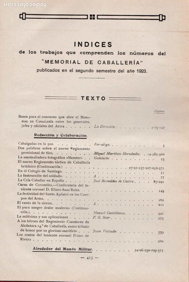 Militaria: Revista MEMORIAL DE CABALLERÍA- 1923 * CABALLOS * - Foto 15 - 160654410