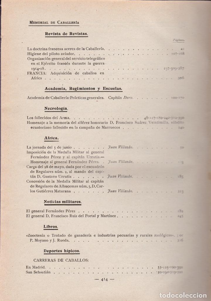 Militaria: Revista MEMORIAL DE CABALLERÍA- 1923 * CABALLOS * - Foto 16 - 160654410