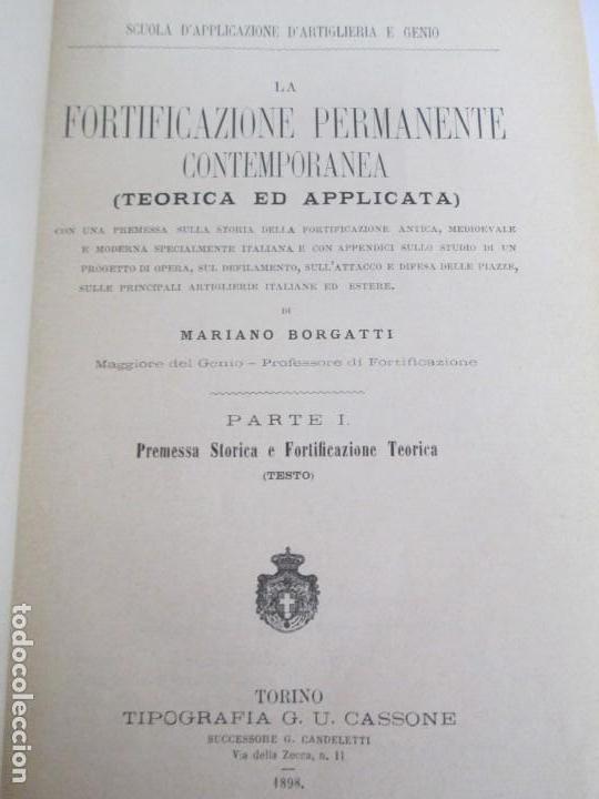 Militaria: FORTIFICAZIONE PERMANENTE CONTEMPORANEA. I Y II. TESTO Y ATLANTE. MARIANO BORGATTI. FORTIFICACIONES. - Foto 7 - 163076354