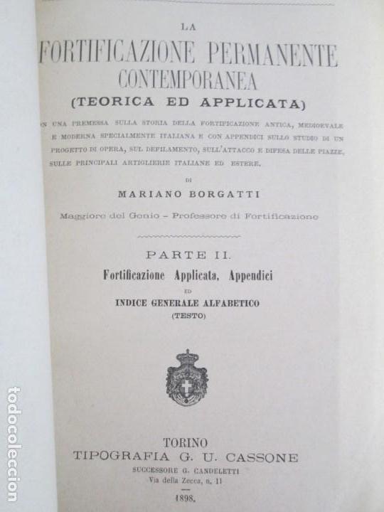Militaria: FORTIFICAZIONE PERMANENTE CONTEMPORANEA. I Y II. TESTO Y ATLANTE. MARIANO BORGATTI. FORTIFICACIONES. - Foto 31 - 163076354