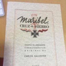 Militaria: DIVISION AZUL. MARIBEL CRUZ DE HIERRO. SINOPSIS DE LA PELÍCULA DE CINE.. Lote 163707234