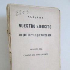 Militaria: NUESTRO EJERCITO. LO QUE ES Y LO QUE PUEDE SER. PROLOGO CONDE DE ROMANCES. 1923. Lote 163736114