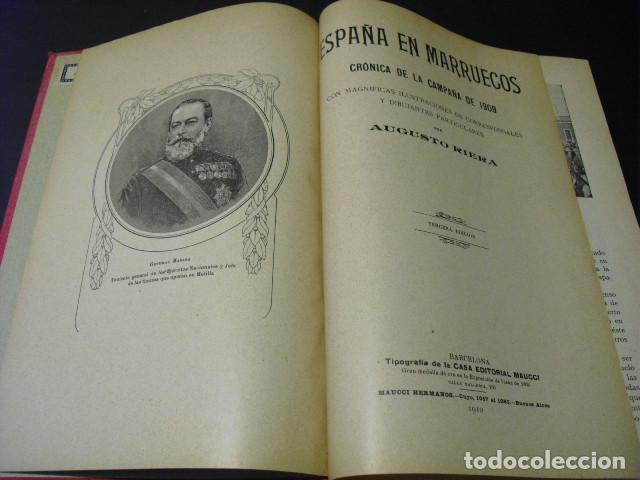 Militaria: 1910 ESPAÑA EN MARRUECOS CRONICA DE LA CAMPAÑA DE 1909 AUGUSTO RIERA - Foto 2 - 166992668