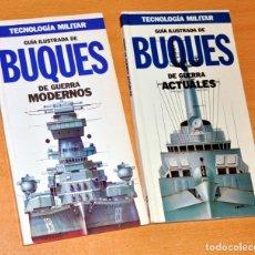 Militaria: LOTE 2 TOMOS TECNOLOGÍA MILITAR: BUQUES DE GUERRA MODERNOS Y ACTUALES - EDITORIAL ORBIS - AÑO 1986. Lote 167786260