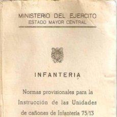 Militaria: INSTRUCCIONES PARA CAÑONES DE INFANTERÍA. Lote 169002708