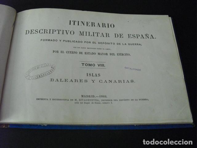 Militaria: 1866 ITINERARIO DESCRIPTIVO MILITAR DE ESPAÑA- BALEARES Y CANARIAS - Foto 3 - 171267175