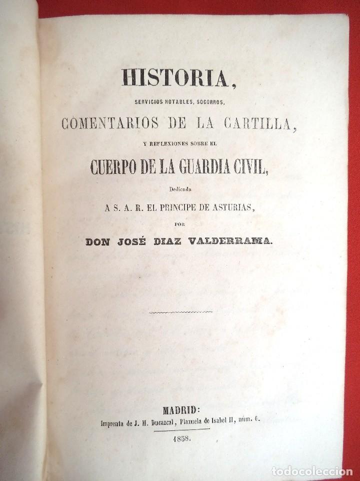 HISTORIA DEL CUERPO DE LA GUARDIA CIVIL AÑO 1858 PRIMERA EDICION (Militar - Libros y Literatura Militar)