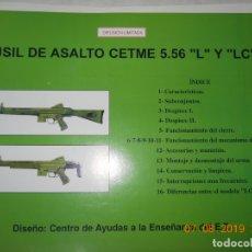 Militaria: FUSIL DE ASALTO CETME 5.56 L Y LC , 17 LAMINAS DE DIFUSION LIMITADA CENTRO DE AYUDAS A LA ENSEÑANZA . Lote 173587467