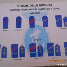 Militaria: DIVISAS DE LA ARMADA 6 LAMINAS 1999 CENTRO DE ENSEÑANZA ARMADA - VER DETALLE. Lote 173588145