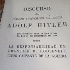 Militaria: DISCURSO DEL FUHRER Y CANCILLER ADOLF HITLER. Lote 177050334