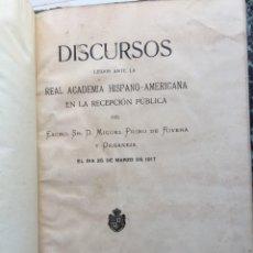 Militaria: MIGUEL PRIMO DE RIVERA.RECUPERACIÓN DE GIBRALTAR.DISCURSOS LEIDOS ANTE LA REAL ACADEMIA HISPANO-AME-. Lote 177312254