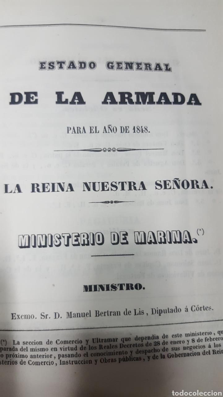 Militaria: ESTADO GENERAL DE LA ARMADA PARA EL AÑO 1848. ENCUADERNACION PIEL CON ESCUDO GRABADO, CON DEFECTO. - Foto 3 - 177828104