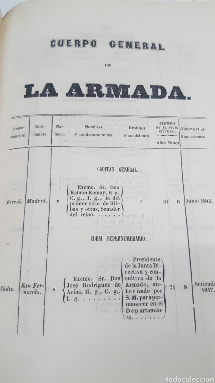 Militaria: ESTADO GENERAL DE LA ARMADA PARA EL AÑO 1848. ENCUADERNACION PIEL CON ESCUDO GRABADO, CON DEFECTO. - Foto 15 - 177828104
