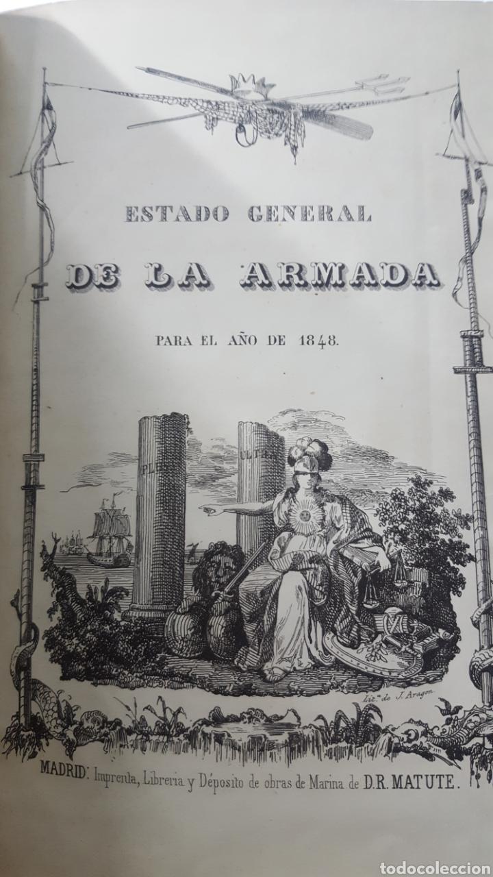 ESTADO GENERAL DE LA ARMADA PARA EL AÑO 1848. ENCUADERNACION PIEL CON ESCUDO GRABADO, CON DEFECTO. (Militar - Libros y Literatura Militar)