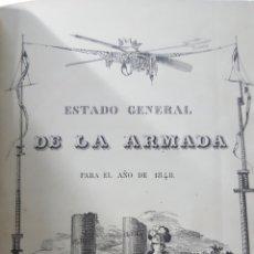 Militaria: ESTADO GENERAL DE LA ARMADA PARA EL AÑO 1848. ENCUADERNACION PIEL CON ESCUDO GRABADO, CON DEFECTO.. Lote 177828104