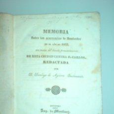 Militaria: CARLISMO - MEMORIA SOBRE LAS OCURRENCIAS DE SANTANDER EN EL AÑO DE 1833. Lote 178148444