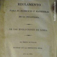 Militaria: REGLAMENTO PARA EL EXERCICIO Y MANIOBRAS DE LA INFANTERÍA AÑO DE 1808 REIMP EN 1813 XXX LAMINAS. Lote 178355708
