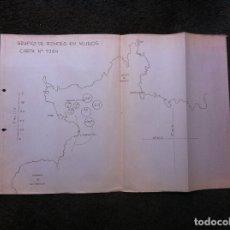 Militaria: GRÁFICO DE FONDEO EN MUROS. CARTA Nº 9264. MEDIDAS 48 X 33CM. CORUÑA. Lote 179534530